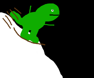 A T-Rex happily sleds down a snowy hill.