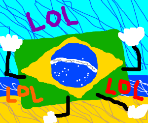 Brazilian flag with arms and legs loling