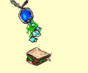 Lapis Lazuli barfs ice cubes onto sandwich