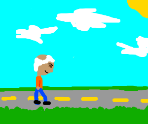 A wise old man and an empty road