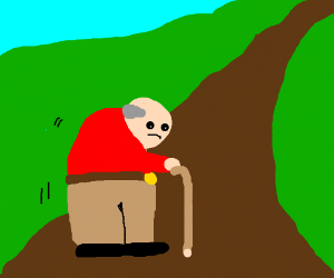 Old man wistfully walks down the endless path.