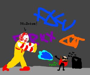Ronald McDonald hadoukens small Dr. Eggman