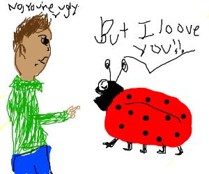 Man refusing a lady bug's love.