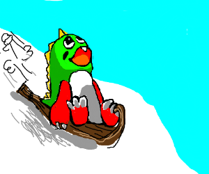 The bubble bubble dragon on a toboggan.
