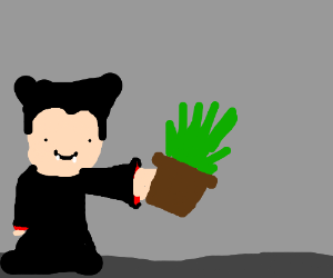 Dracula offers you a potted plant.