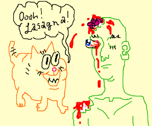 Garfield is not impressed by the zombie