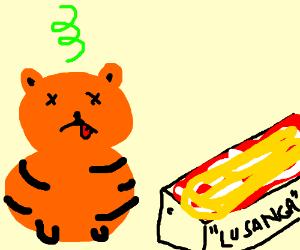 Garfield is sick of Jon's offbrand lasagna