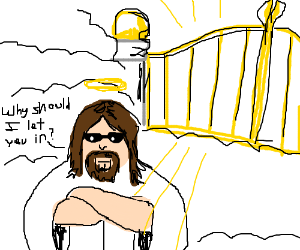 Jesus the bouncer at heavens door drawing by mason grinvalds jesus the bouncer at heavens door altavistaventures Gallery