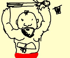 Wrestler body slams Abe Lincoln