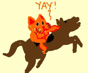 Muscular human Garfield on a horse