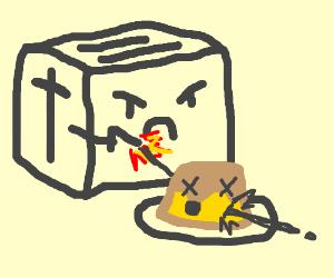 Toaster shoots Flan.