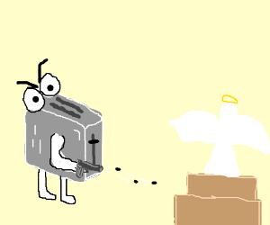 Toaster shoots an angel cake.