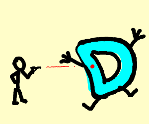 man about to shoot drawception D