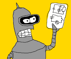 Bender examining some circuit diagrams.