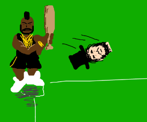Mr. T plays baseball with Lincoln's head, fool