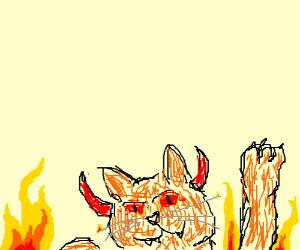 Hellish cat appears from below