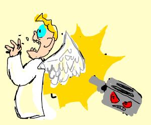 evil toaster shoots angel