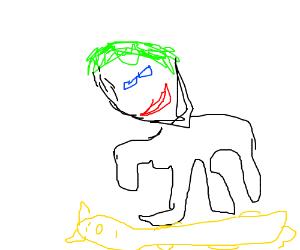 The Joker dances on top of a blonde cat