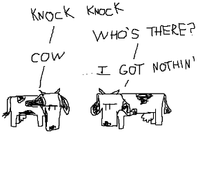 anti-climactic cow related knock knock joke