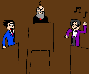 Miles Edgeworth dancing in court.