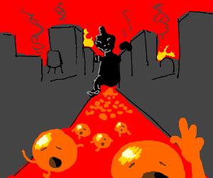 Godzilla destroying city of orange people.