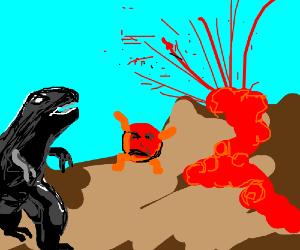 Coal Dinosaur Chasing Sad Lava Bubbles