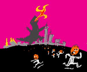 Godzilla destroys the City of the OrangePeople