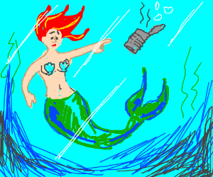 Mermaid Sad About Water Pollution Drawing By Severinjo Drawception