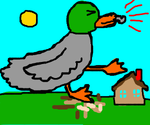 A giant duck whistles and crushes houses.