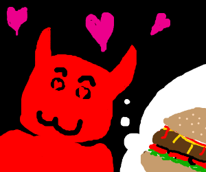 satan's one love is a cheeseburger