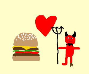 Hamburger in love with devil.