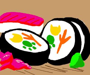 Sushi w/ animal symbols inside