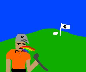 Golfer eats rainbows.