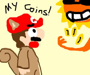 Mario in a squirrel suit. Sun steals his coins