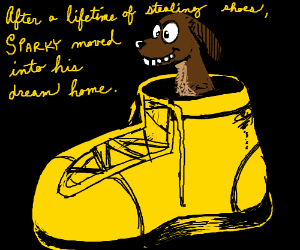 derpy dog sits in giant yellow shoe