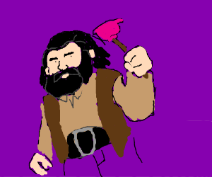 Hagrid wields a plunger