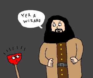 Hagrid tells Harry Plunger he's a wizard!