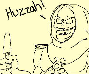 Skeletor celebrates with a popsicle