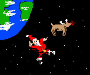 Rudolph & Santa are floating in space
