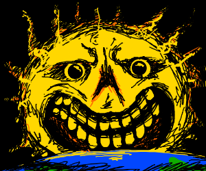 a rather creepy version of the sun with a face
