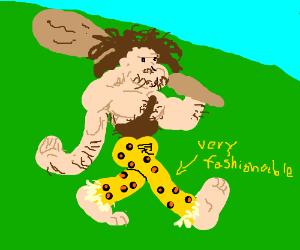 stone age man wears fashionable leopard pants