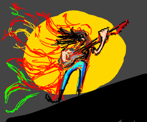 The guitarist is on fire.