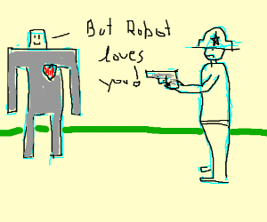 robot has a heart and so MUST DIE