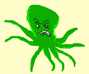 angry green octopus