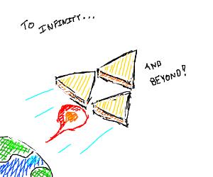 tri force rocket flies through space