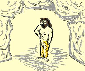 Caveman wearing very fashionable leopard pants