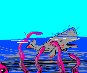 pink Kraken attacks whale