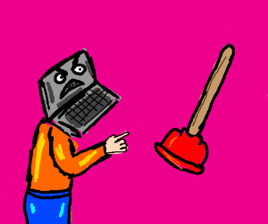 Man with laptop head gets angry at a plunger