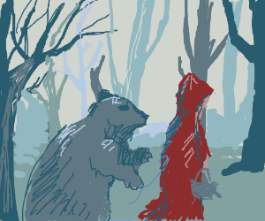 A Beary odd twist to Little Red Riding Hood