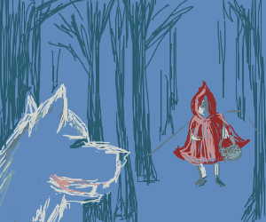 Wolf watches Little Red Riding Hood in woods